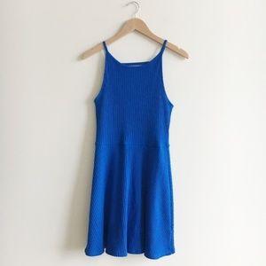 Topshop Cobalt Blue Ribbed Knit Mini Dress